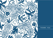 Navy Floral Wishes Thank You Card